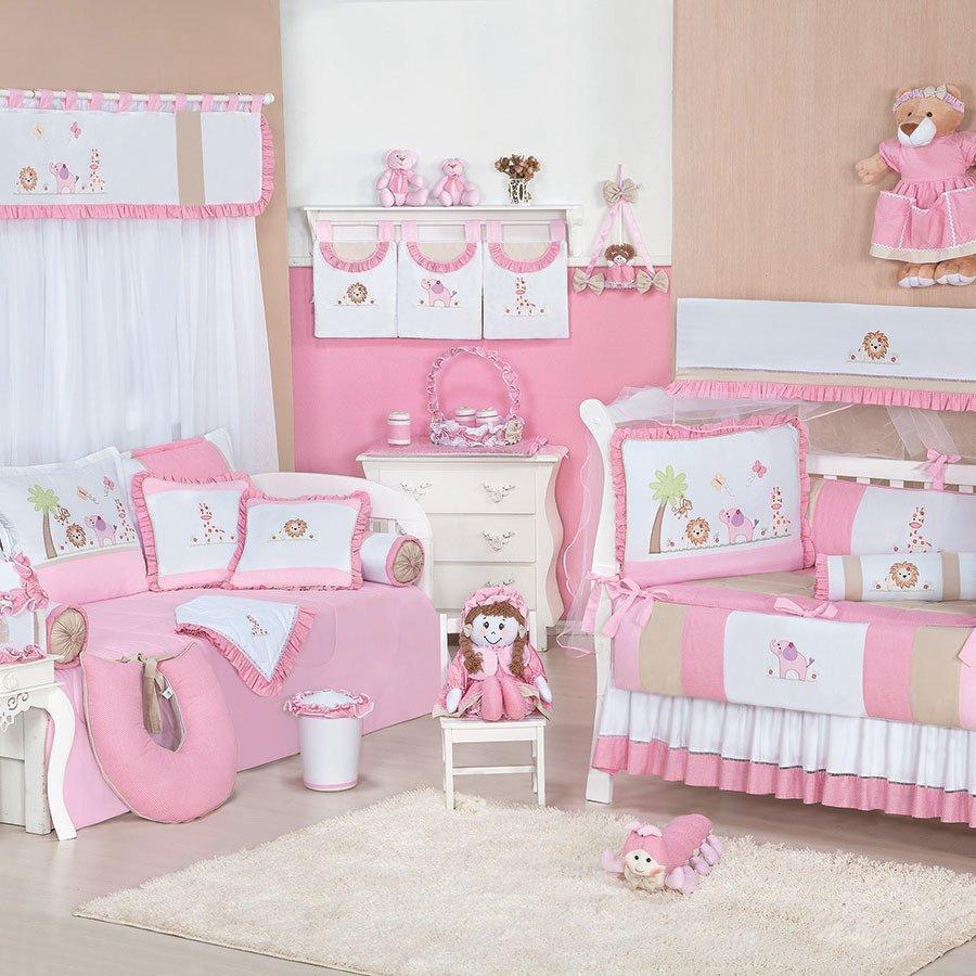 Enxoval De Menina ~ Quarto Completo Enxoval Beb u00ea Menina Simba Branco Rosa Essencial Enxovais