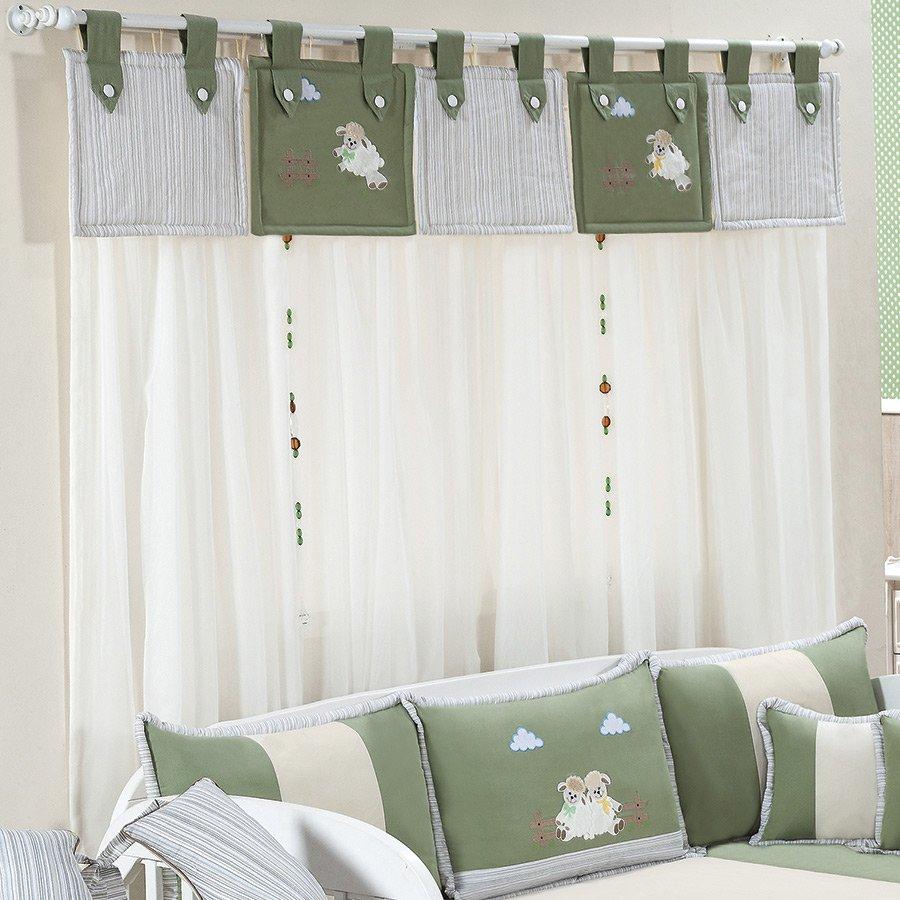 Cortina Para Quarto de Bebê Menino Ovelhinha Verde Palha  ~ Cores Para Quarto De Bebe Verde