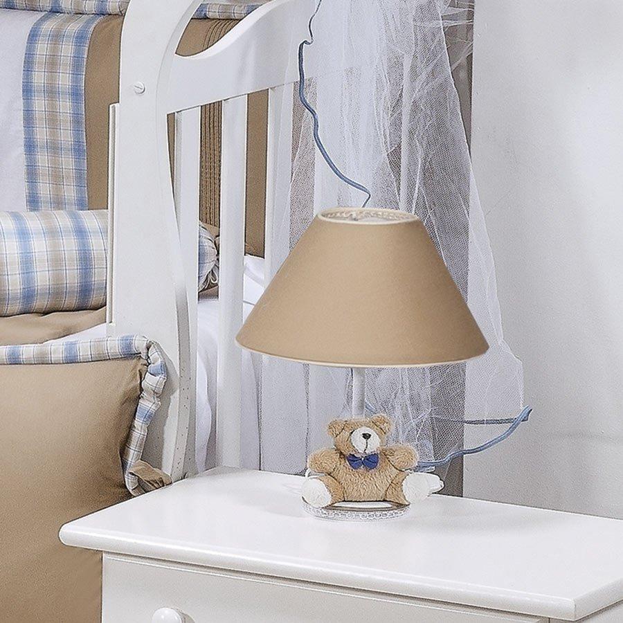 Abajur Para Quarto de Bebê Menino Príncipe Urso Bege  Essencial Enxovais